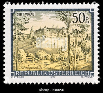 Austrian postage stamp (1990) : Monasteries and Abbeys series: Stift Vorau / Augustinian monastery Vorau - Stock Image