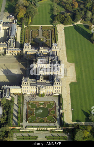 Aerial view of Blenheim Palace with it's formal gardens near Woodstock in Oxfordshire, once home to Winston - Stock Image