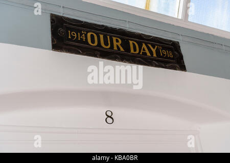 Ward 8 (Our Day, commemorating The Great War) at the oldVictorian corridor, Royal Victoria Hospital, Belfast. - Stock Image