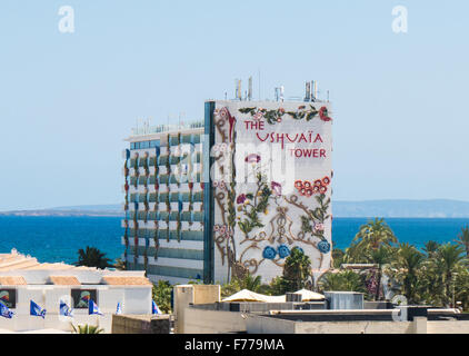 The Ushuaia Tower of the Ushuaia Beach Club, Playa d'en Bossa, Ibiza - Stock Image