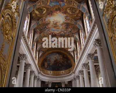 The painted ceilings and corinthian columns in the Royal Chapel, Palace of Versailles, France - Stock Image