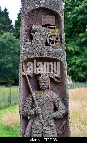 Monument to King James II of Scotland (detail). Dryburgh Abbey. Dryburgh, St.Boswells, Roxburghshire, Scottish Borders, Scotland, United Kingdom. - Stock Image