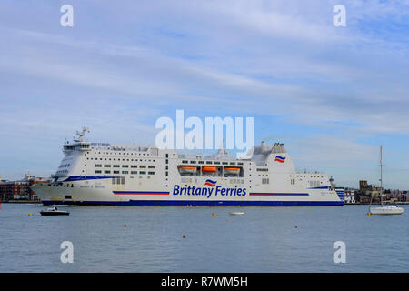 Brittany Ferry arriving  Portsmouth Hampshire - Stock Image