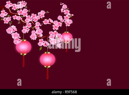 Chinese New Year. Sakura and purple lanterns. Cherry flowers with buds and leaves on the branch. Dark background. illustration - Stock Image