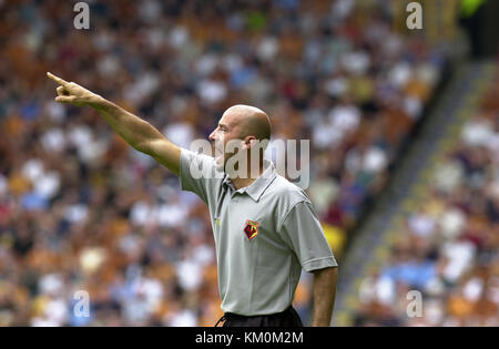 Football manager Gianluca Vialli Wolverhampton Wanderers v Watford 25 August 2001 - Stock Image