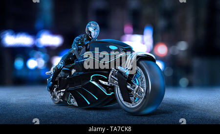 Biker girl with helmet riding a sci-fi bike, woman on black futuristic motorcycle in night city street, 3D rendering - Stock Image