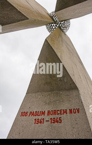Mirna, Slovenia - December 29th 2018. Detail from a Yugoslavia era communist second world war memorial in Mirna known as the Monument to the Fallen on - Stock Image