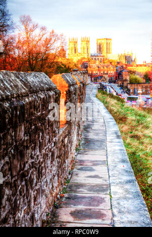 York City, York City walls, York castle walls, York Cathedral, Cathedrals, Cathedrals UK, York city, path, pathway, Yorkshire, UK, England, Cathedral - Stock Image