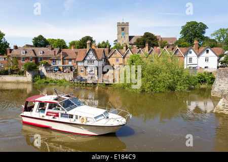 Motor Boat on the River Medway at Aylesford near Maidstone Kent - Stock Image