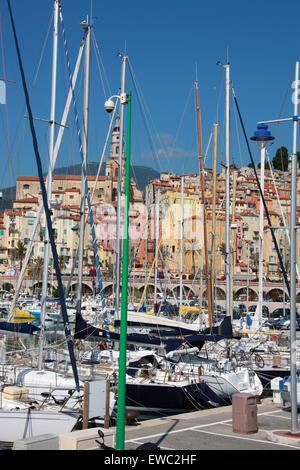 Menton Harbour, Cote D'Azure, France. - Stock Image