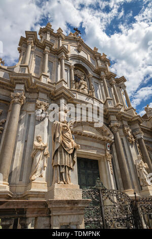 Catania - The baroque portal of Basilica di Sant'agata. - Stock Image