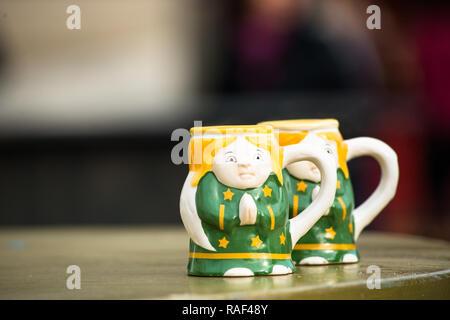 Ceramic mugs at Christmas Market at Belvedere Palace, Vienna, Austria. - Stock Image