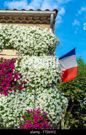 French national flag on old building decorated with many hanging colorful petunia flowers in sunny summer day - Stock Image