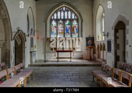 Interior of the parish church of St Nicholas in the village of Potterspury, Northamptonshire, UK; earlist parts date from 12th century - Stock Image