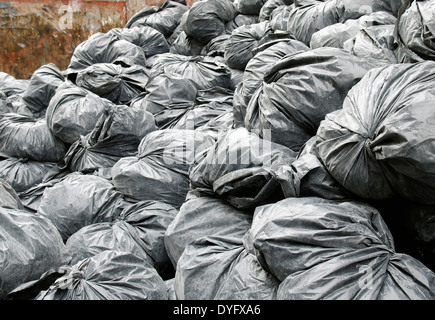 construction garbage bags in dumpster - Stock Image