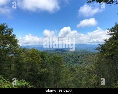 Beautiful mountain view from Hooper Bald off the Cherohala Skyway in North Carolina. - Stock Image