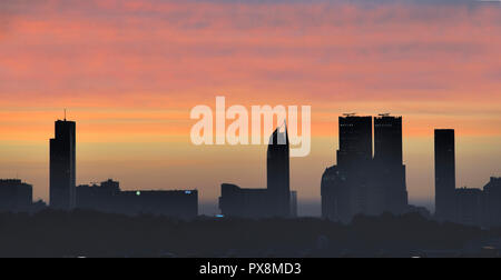 Skyline of The Hague in the morning at sunrise - Stock Image