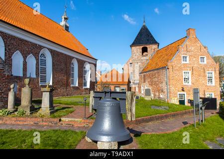 Greetsiel village, municipality Krummhšrn, Historical Greetsieler church, East Frisia, Lower Saxony, Germany, - Stock Image