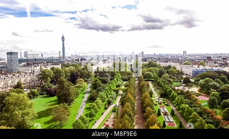 Aerial View London City View around The Regents Park feat. Elegant Garden Decorative Design Flower Beds and Trees - Stock Image