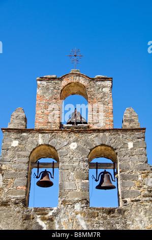 Mission Espada bell tower San Antonio Texas tx Missions National Historical Park us national park service san antonio - Stock Image