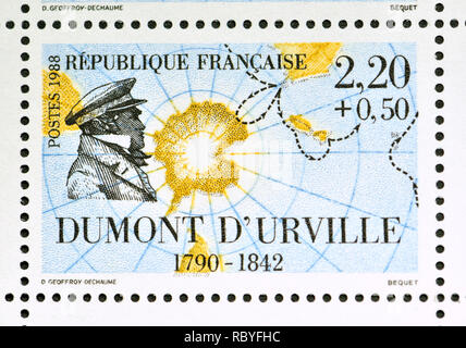 French postage stamp (1988): Navigators and Explorers series - Jules Sébastien César Dumont d'Urville (1790 – 1842) French explorer, naval officer and - Stock Image