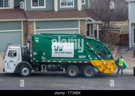 A Waste Management worker empties green plastic trash containers in a residential area, Castle Rock Colorado US. Photo taken in April. - Stock Image