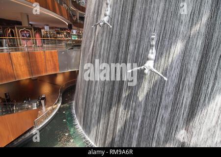 Dubai, United Arab Emirates - September 9, 2018: The Waterfall at Dubai Mall, Dubai, United Arab Emirates. - Stock Image