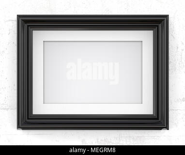 3D render of Vintage Black Frame with passe-partout on concrete wall. Blank for Copy Space. - Stock Image