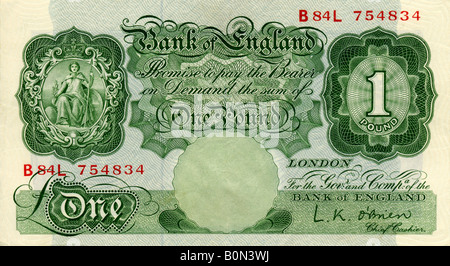 1950s Mint Bank of England One Pound Note with signature of L K O'Brien Chief Cashier FOR EDITORIAL USE ONLY - Stock Image