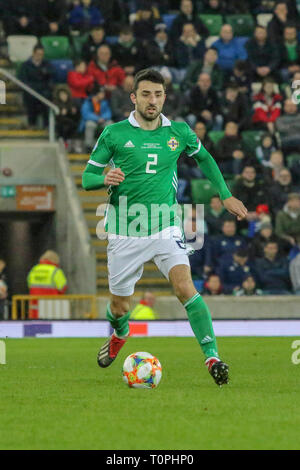 National Football Stadium at Windsor Park, Belfast, Northern Ireland. 21 March 2019. UEFA EURO 2020 Qualifier- Northern Ireland v Estonia. Action from tonight's game. Conor McLaughlin (2) Northern Ireland. Credit: David Hunter/Alamy Live News. - Stock Image