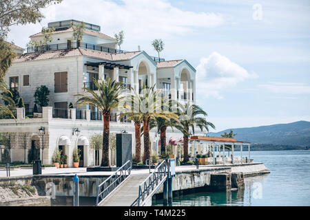 Beautiful view of the architecture of the coastal city of Tivat in Montenegro. - Stock Image