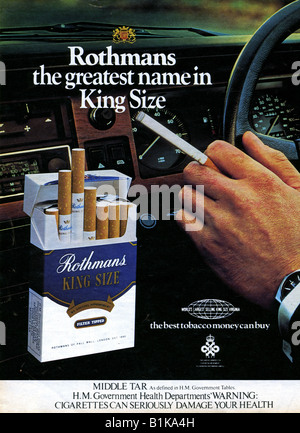 1978 Rothmans Cigarette Magazine Advertisement with Government Health Warning and Tar Level FOR EDITORIAL USE ONLY - Stock Image
