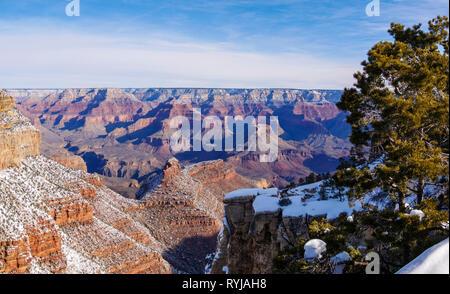 Grand Canyon panorama with snow. - Stock Image