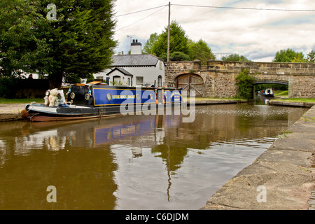 Trefor basin next to aquaduct near Llangollen, North Wales. - Stock Image