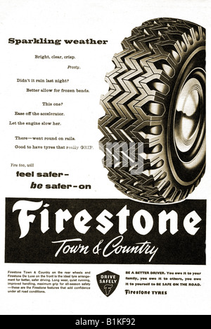 1960 advertisement for Firestone Town & Country Tyres Tires FOR EDITORIAL USE ONLY - Stock Image