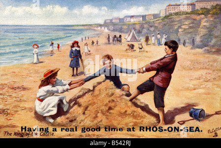 Old vintage seaside picture postcard of Rhos on Sea EDITORIAL USE ONLY - Stock Image