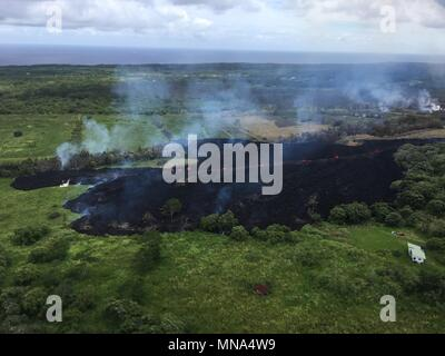 Aerial view of fissure 17 caused by the Kilauea volcano May 13, 2018 in Hawaii. The recent eruption continues destroying homes, forcing evacuations and spewing lava and poison gas on the Big Island of Hawaii. - Stock Image