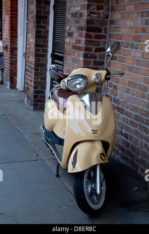 Moped on streets of New Orleans, Louisiana USA - Stock Image