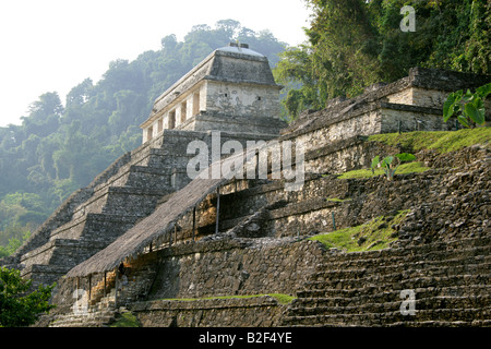 Temple of Inscriptions and Temple XIII, Palenque Archeological Site, Chiapas State, Mexico. - Stock Image