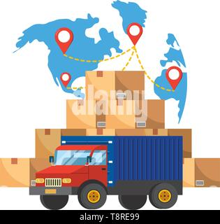 truck and map with location pointer and boxes vector illustration graphic design - Stock Image
