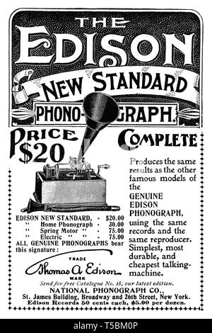 Advertisement for the Thomas Edison New Standard Edison Phonograph, 1898 - Source: 'The Century Illustrated Monthly Magazine' Vol. LVI, No. 6, October, 1898 - Stock Image