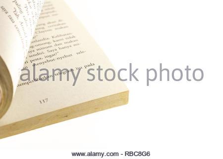page of indonesia novel language isolated white background - Stock Image