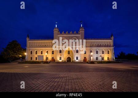 Main facade of Lublin Castle at dusk, Lublin, Poland - Stock Image