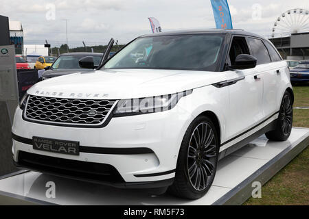 Range Rover Velar on static display in the Car Club Zone of the 2017 Silverstone Classic - Stock Image