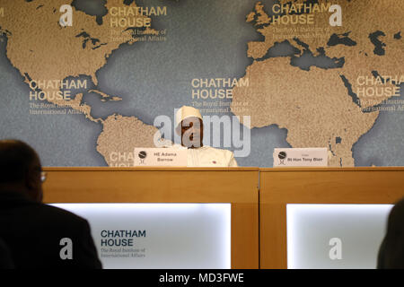 London, UK. 18th April 2018. President Adama Barrow of Gambia at the Chatham House think-tank in London on 18 April, 2018. Credit: Dominic Dudley/Alamy Live News - Stock Image