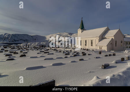 The parish church of Honningsvag in Norway, during winter. - Stock Image