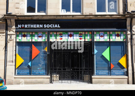 Colourful exterior of Northern Social restaurant, Bradford, West Yorkshire - Stock Image