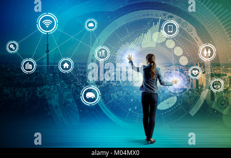 IoT(Internet of Things) concept. Fintech(Financial Technology). ICT(Information Communication Technology). Smart - Stock Image