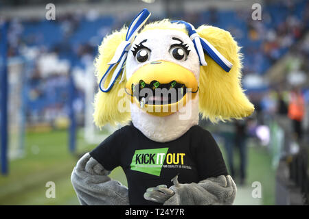One of the mascots in Kick It Out shirt during the Premier League match between Brighton & Hove Albion and Southampton at The American Express Community Stadium . 30 March 2019 Editorial use only. No merchandising. For Football images FA and Premier League restrictions apply inc. no internet/mobile usage without FAPL license - for details contact Football Dataco - Stock Image