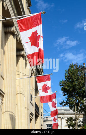 The Canadian Flag hands outside the Canadian Embassy, Trafalgar Square, London, England, UK - Stock Image